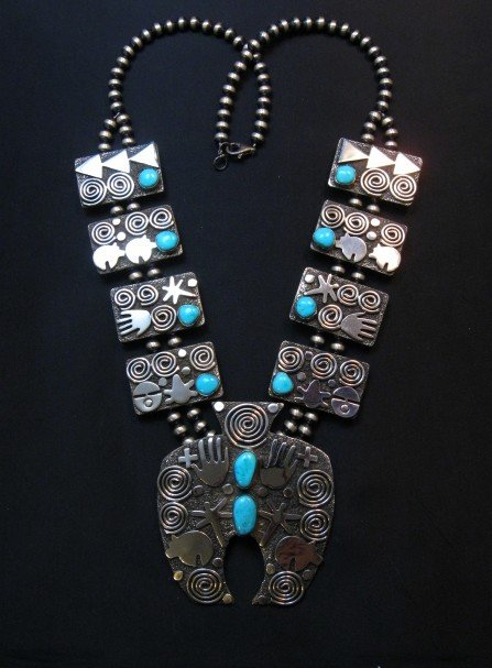 Image 7 of Alex Sanchez Navajo Squash Blossom Turquoise Necklace Earring Set