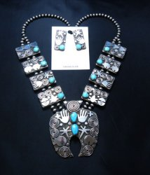 Alex Sanchez Navajo Squash Blossom Turquoise Necklace Earring Set