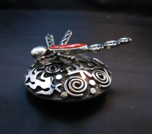 Image 5 of Alex Sanchez Navajo Dragonfly Silver Coral Seed Pot - One of a Kind