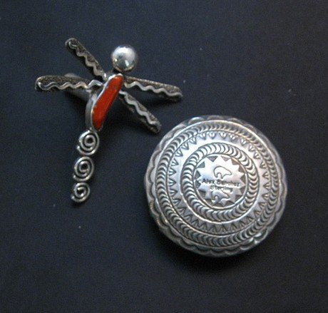 Image 3 of Alex Sanchez Navajo Dragonfly Silver Coral Seed Pot - One of a Kind