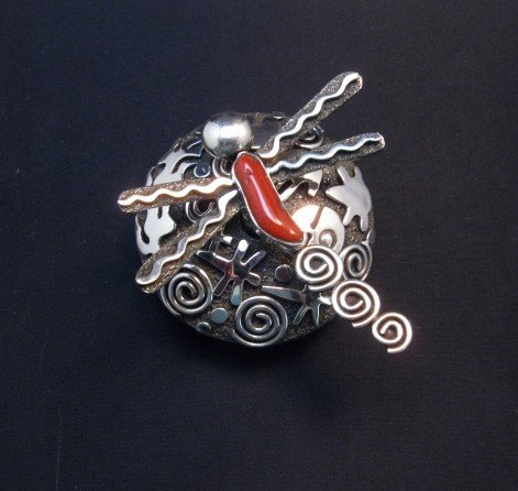 Image 2 of Alex Sanchez Navajo Dragonfly Silver Coral Seed Pot - One of a Kind
