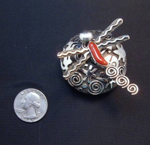 Image 4 of Alex Sanchez Navajo Dragonfly Silver Coral Seed Pot - One of a Kind