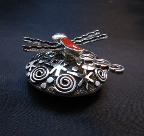Image 6 of Alex Sanchez Navajo Dragonfly Silver Coral Seed Pot - One of a Kind