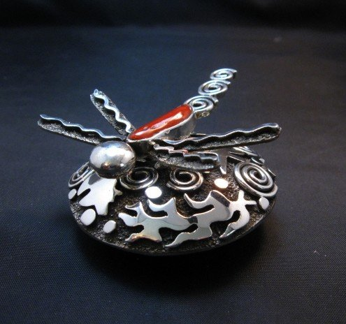 Image 7 of Alex Sanchez Navajo Dragonfly Silver Coral Seed Pot - One of a Kind