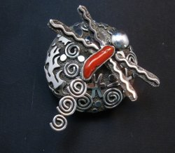 Alex Sanchez Navajo Dragonfly Silver Coral Seed Pot - One of a Kind