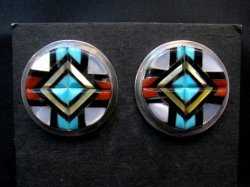 Zuni - Natachu - Multi-Gem Pillow-Cut Inlay Earrings