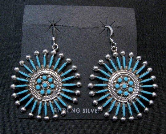 Image 0 of Zuni Turquoise Needlepoint Snowflake Earrings, Iva Booqua