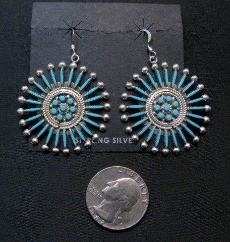 Image 1 of Zuni Turquoise Needlepoint Snowflake Earrings, Iva Booqua