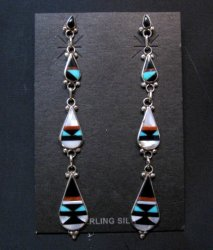 Extra-long Native American Zuni Multi Inlay Dangle Earrings, David Boone