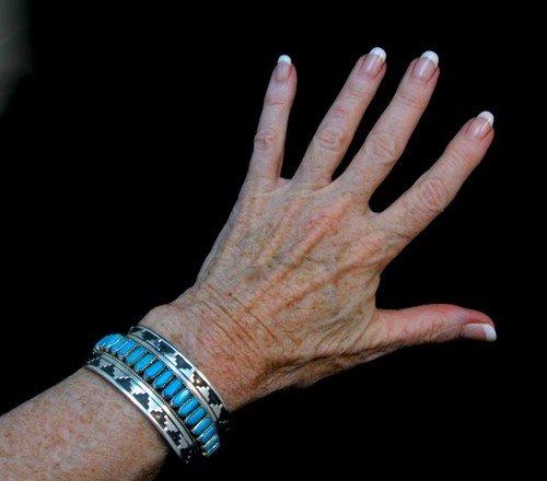 Image 1 of Wide Native American Navajo Turquoise Silver Overlay Bracelet, Eddie Johnson
