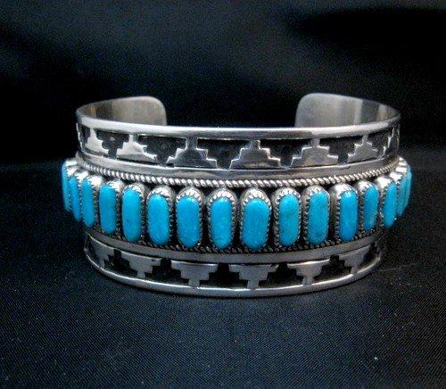 Image 2 of Wide Native American Navajo Turquoise Silver Overlay Bracelet, Eddie Johnson