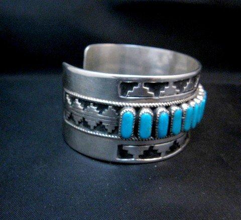 Image 4 of Wide Native American Navajo Turquoise Silver Overlay Bracelet, Eddie Johnson