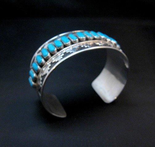 Image 5 of Wide Native American Navajo Turquoise Silver Overlay Bracelet, Eddie Johnson
