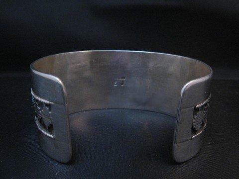 Image 6 of Wide Native American Navajo Turquoise Silver Overlay Bracelet, Eddie Johnson