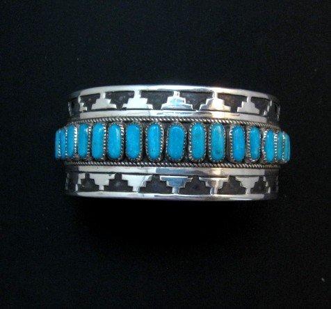 Image 7 of Wide Native American Navajo Turquoise Silver Overlay Bracelet, Eddie Johnson