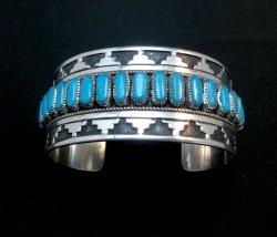 Wide Native American Navajo Turquoise Silver Overlay Bracelet, Eddie Johnson