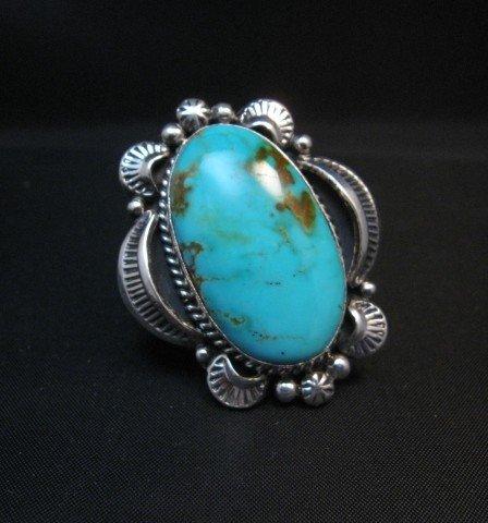 Image 0 of Native American Kingman Turquoise Silver Ring Sz7-1/2, Navajo Gilbert Tom