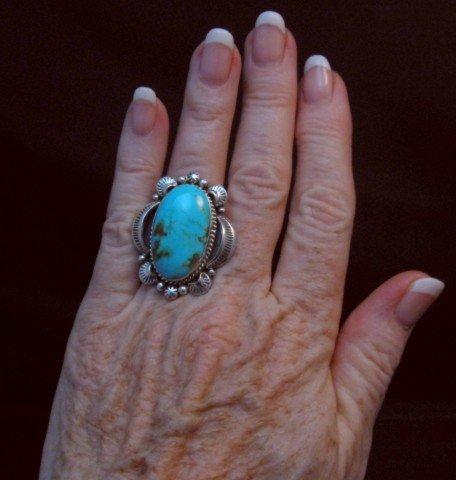 Image 1 of Native American Kingman Turquoise Silver Ring Sz7-1/2, Navajo Gilbert Tom