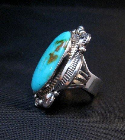 Image 2 of Native American Kingman Turquoise Silver Ring Sz7-1/2, Navajo Gilbert Tom