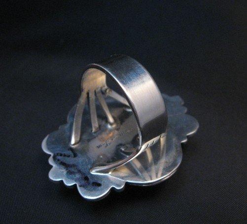 Image 4 of Native American Kingman Turquoise Silver Ring Sz7-1/2, Navajo Gilbert Tom