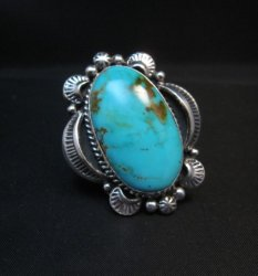 Native American Kingman Turquoise Silver Ring Sz7-1/2, Navajo Gilbert Tom
