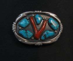 Vintage Zuni Turquoise Coral Silver Buckle by Horace Iule