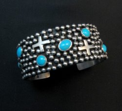 Navajo ~ Ronnie Willie ~ Turquoise Cross Four Corners Bracelet