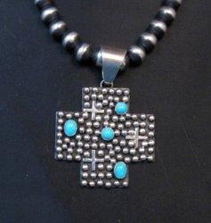 Navajo Ronnie Willie Sleeping Beauty Turquoise Santa Fe Cross Pendant