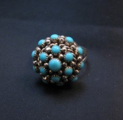 Dickie Charlie Zuni Turquoise Domed Cluster Ring sz7-1/2