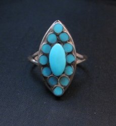 Nancy Dishta Zuni Sleeping Beauty Turquoise Ring sz7-1/2