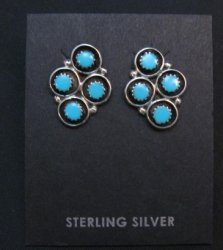 Zuni Sleeping Beauty Turquoise Post Earrings, Florence Booqua