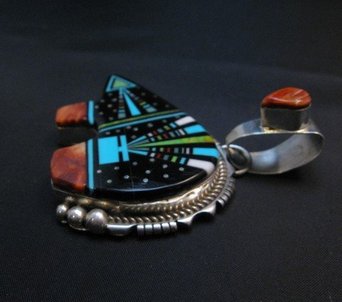 Image 1 of Navajo Multistone Inlaid Cosmic Bear Pendant Inlaid Bale by Ray Jack