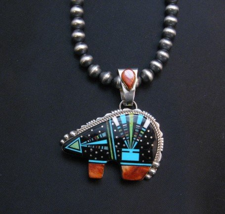 Image 2 of Navajo Multistone Inlaid Cosmic Bear Pendant Inlaid Bale by Ray Jack