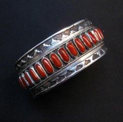 Native American Navajo Coral Silver Overlay Bracelet, Eddie Johnson