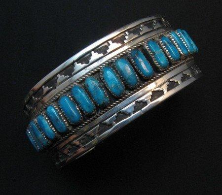 Image 0 of Native American Navajo Turquoise Silver Overlay Bracelet, Eddie Johnson
