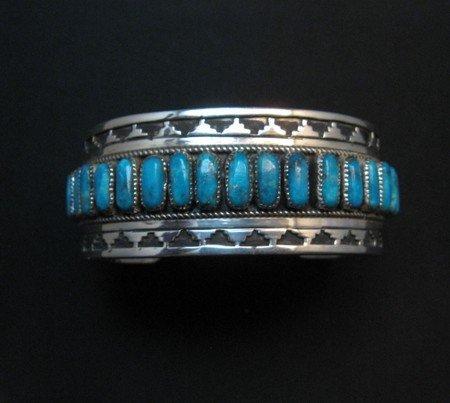Image 1 of Native American Navajo Turquoise Silver Overlay Bracelet, Eddie Johnson