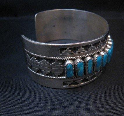 Image 2 of Native American Navajo Turquoise Silver Overlay Bracelet, Eddie Johnson