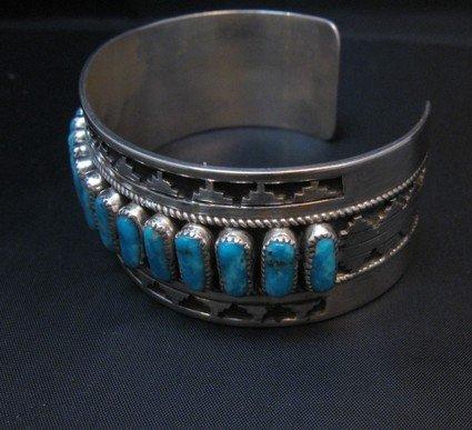 Image 3 of Native American Navajo Turquoise Silver Overlay Bracelet, Eddie Johnson
