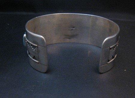 Image 4 of Native American Navajo Turquoise Silver Overlay Bracelet, Eddie Johnson