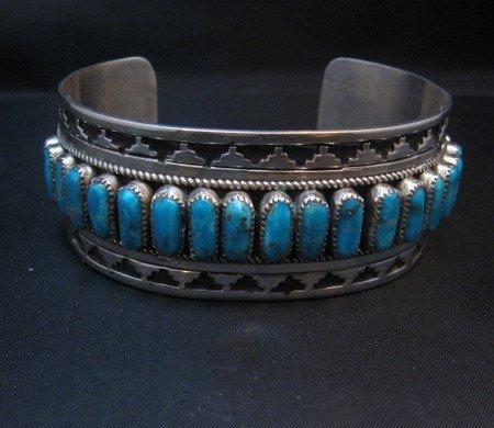 Image 6 of Native American Navajo Turquoise Silver Overlay Bracelet, Eddie Johnson