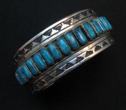 Native American Navajo Turquoise Silver Overlay Bracelet, Eddie Johnson