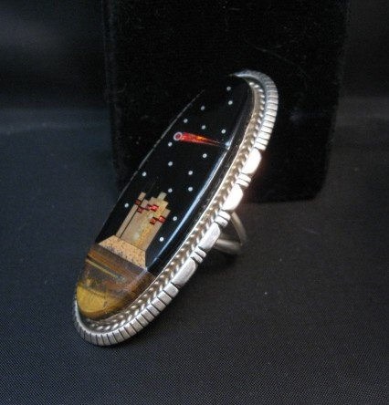 Image 1 of Long Navajo Monument Valley Night Sky Ring Matthew Jack sz8