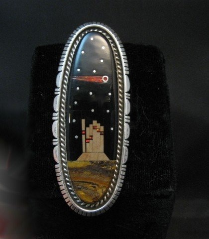 Image 4 of Navajo Desert Landscape Night Sky Ring Matthew Jack sz7