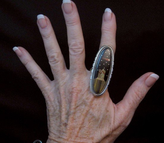 Image 3 of Navajo Mulitgem Landscape Night Sky Ring Matthew Jack sz10-3/4