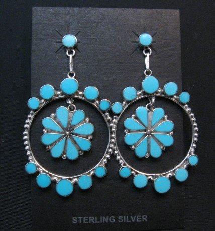 Image 0 of Large Zuni Sleeping Beauty Turquoise Dangle Earrings, Bryant Othole