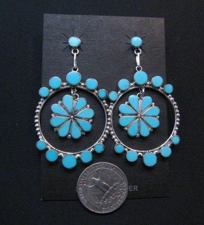 Image 1 of Large Zuni Sleeping Beauty Turquoise Dangle Earrings, Bryant Othole