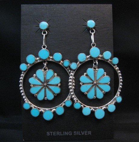 Image 2 of Large Zuni Sleeping Beauty Turquoise Dangle Earrings, Bryant Othole