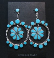Large Zuni Sleeping Beauty Turquoise Dangle Earrings, Bryant Othole