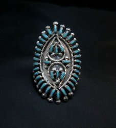 Zuni Sleeping Beauty Turquoise Petitpoint Silver Ring V&S Johnson sz7-1/2
