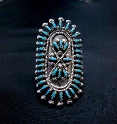 Zuni Sleeping Beauty Turquoise Petitpoint Silver Ring Vincent Johnson sz6-1/2